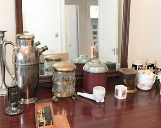 Tobacco jars, smoking collectibles and shaving mugs