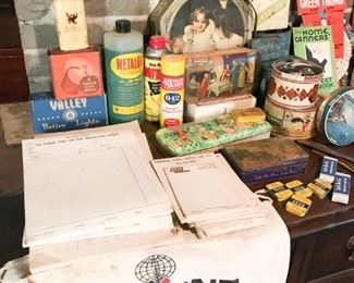 Industrial advertising, candy tins and tobacco tins