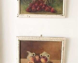 Still life oil paintings signed JE Field