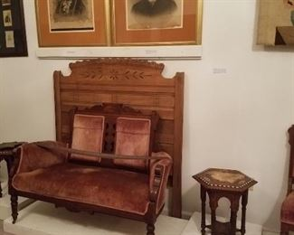 Lovely collection of Eastlake furniture including upholstered chairs, organ and bench, loveseat and endtables, in addition to Empire and Victorian.
