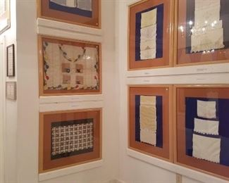 Ambitious and thorough exploration of household thread art -- from baptismal gowns and children's petticoats and pantaloons to doilies, table runners, tea towels, samplers and more. Beautifully mounted and framed. Approximately 60 pieces.