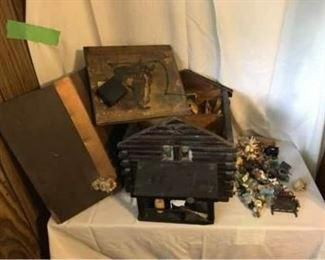 Antique Log Cabin Doll House and Toys