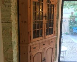 Solid Pine Corner Cabinet Filled w/ Waterford Lismore Crystal