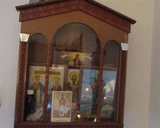 Vintage Religious Cabinet with items