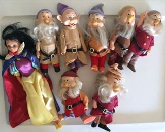 Vintage Disney collectibles, all 7 dwarfs, all with hats and Snow White with cape
