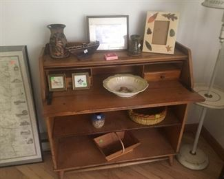 Slim drop front desk with shelves