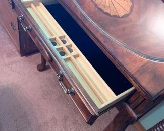 #3 inlay drop front desk w 1 drawer and QA legs 33x17-24x42  $175.00