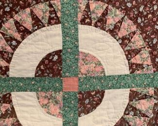 #7 green pink cream circle queen patch quilt   $75.00