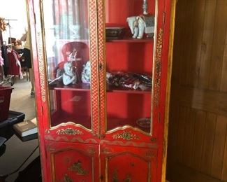 Red Chinese China Cabinet