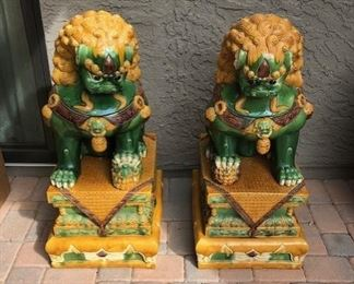 Ancient Asian Lion Statues