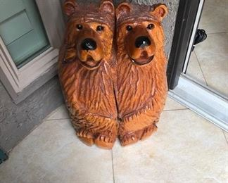 Wood Carved Twin Bear Statue