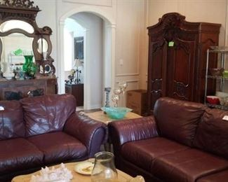 Den Leather sofas, Antique Etegere and Armoire
