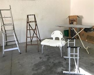 Ladders, ironing board, medical items