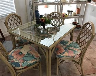 Rattan and bamboo table and chairs