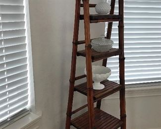 Bamboo ladder stand and milk glass