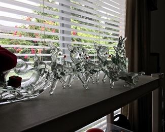 Glass reindeer and sleigh