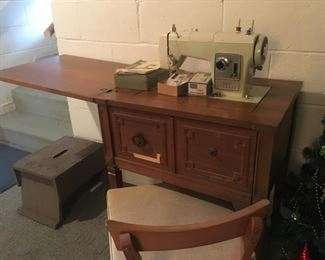 Sewing Machine and Chair + Accessories