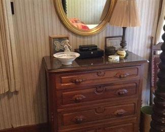 walnut Victorian chest, handsome gold leaf oval mirror