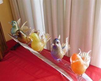 Murano glass birds on glass branch sculpture