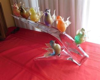 Murano glass sculpture with bird siting on branch signed by Cammozo