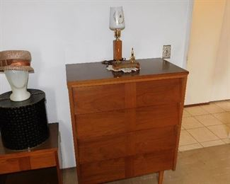 MCM modern tall boy chest of drawers and night stand