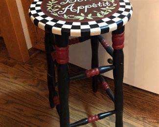 Wooden hand painted stool
