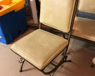 Vintage wrought iron & vinyl chairs, 4
