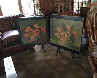 2 Poppy Art Print Tilt Top Tables