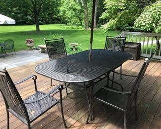High End Wrought Iron Patio Table with 6 Chairs