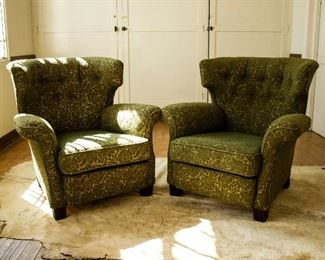 green arm chairs
