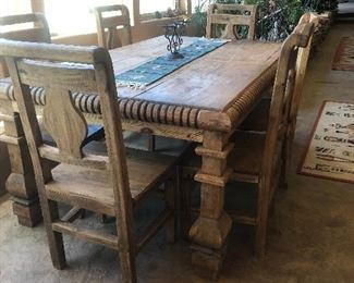 Dining table and 6 chairs. $600