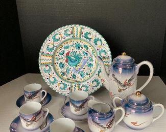 Italian plate, Japanese tea set