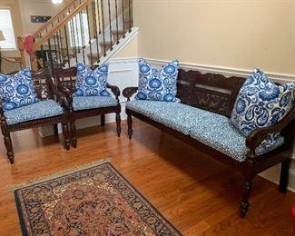 Mahogany Bench/ Chairs/ New Cushions