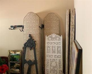 Teak screen/3 Panels Upholstered Room Dividers