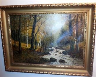 Large Antique oil painting on canvas signed Ehrmann