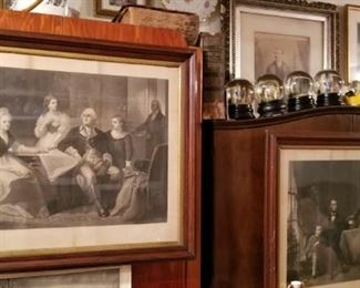 Large  Antique President Washington and also President Lincoln engravings from 1864 and 1866 by William Sartain.