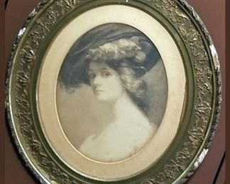 Large antique framed Victorian lady in Sepia tone.