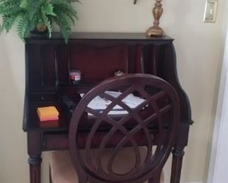 Wooden Desk with Chair and Wall art