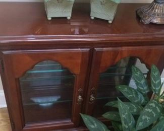 wooden table with cabinet