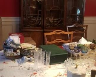 stunning dark wood dining room set. The china cabinet is one piece