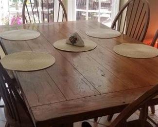 Dark Natural Wood Kitchen set with 6 chairs