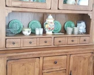"natural dark wood hutch heavy wood 71"" Long 41"" width and 60"" across. Large heavy piece. All china for sale"