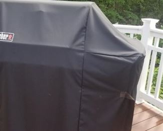 Weber converted gas grill with cover