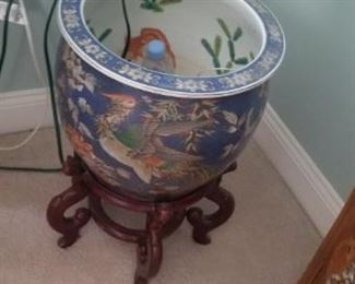 large oriental ceramic planter on stand