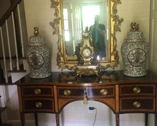Sideboard - John Whiticomb / Ginger Jars with Fu Dogs circa 1900 / French Bronze Clock Circa 1900 / Carved Guildmaster Mirror