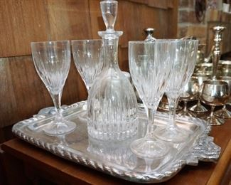 Crystal decanter and glass set