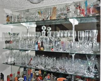 Barware includes Waterford glasses