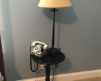 Black California Side Table, Telephone and Lamp