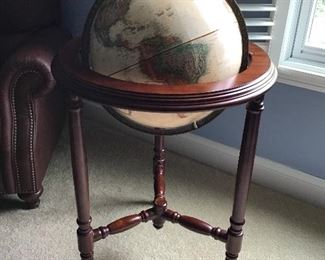 Gorgeous, Very Generous Sized Cherry Wood Globe of the World