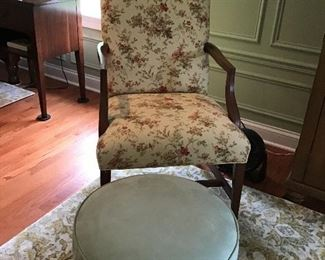Martha Washington Floral Chair and Seafoam Green Ottoman